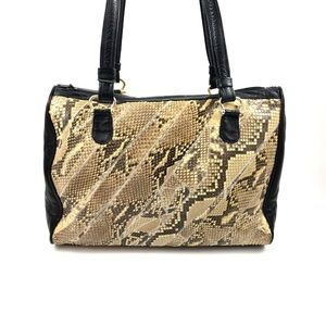 1970's python snakeskin on black leather bag